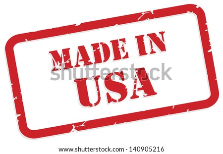 Red rubber stamp vector of Made In USA - stock vector