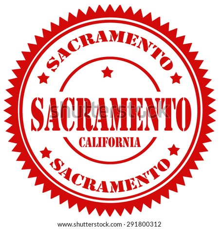 Red rubber stamp with text Sacramento-California,vector illustration - stock vector