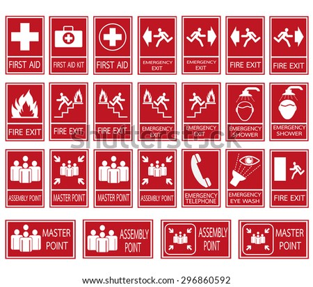 Red safety sign. Vector emergency exit signs set on red background