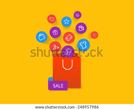 Red sale bag with apps icons. Isolated on yellow