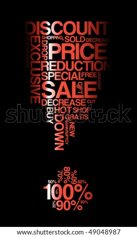 Red sale discount poster with black background (vector) - stock vector