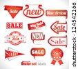 red sale labels set - stock photo