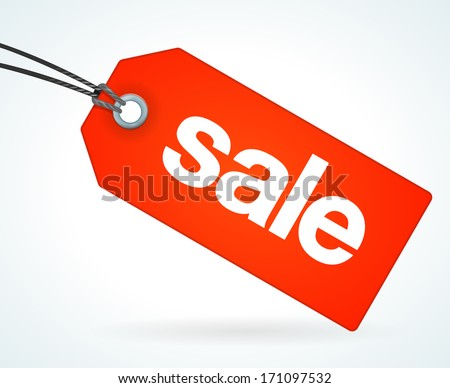 Red Sale Tag - stock vector
