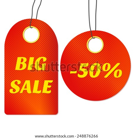 Red sale tags or labels. Vector illustration. - stock vector