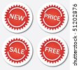 Red sale tags, vector illustration - stock vector