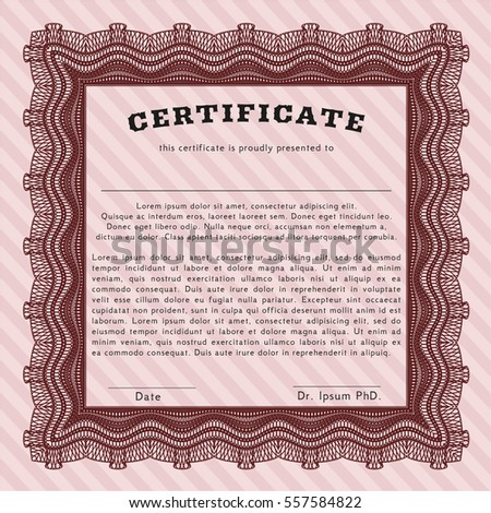 Red Sample Certificate. Nice design. With guilloche pattern. Vector illustration.
