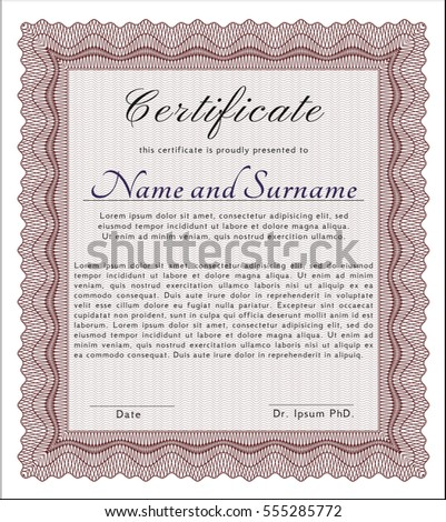 Red Sample Diploma. With complex background. Cordial design. Customizable, Easy to edit and change colors.