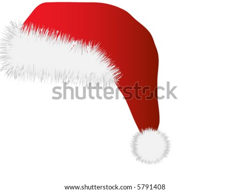 Red santa claus hat over white background - stock vector