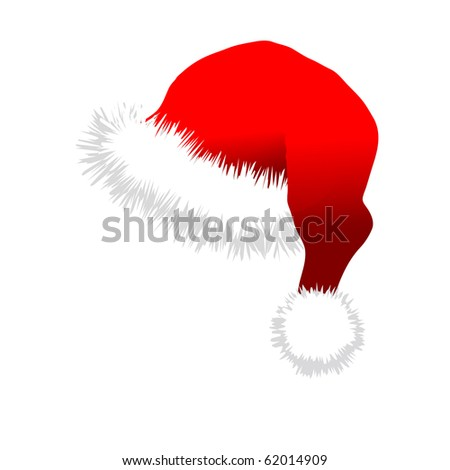 Red Santa Claus Hat. Vector illustration isolated on white background. - stock vector