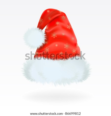 Red Santa Claus hat with the pattern of golden snowflakes . Mesh.