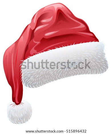 Red santa hat with fluffy white fur. Isolated vector illustration