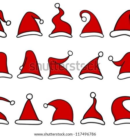 Red Santa hats. Seamless pattern. - stock vector