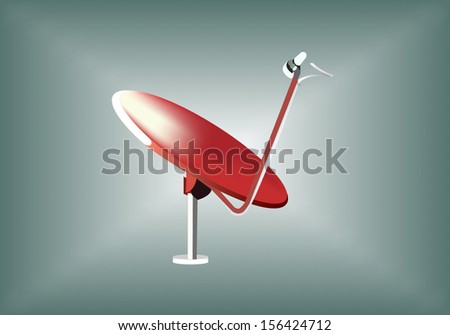 Red satellite - stock vector