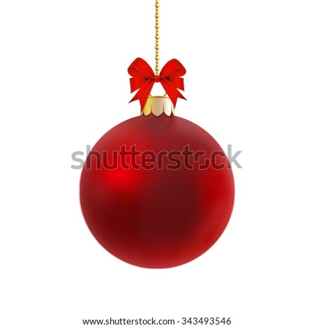 Red satin bauble hanging on a gold ribbon with red bow isolated on white.