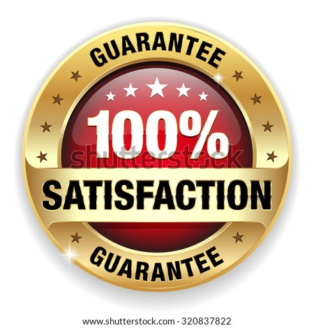 Red satisfaction guarantee badge with gold border on white background - stock vector