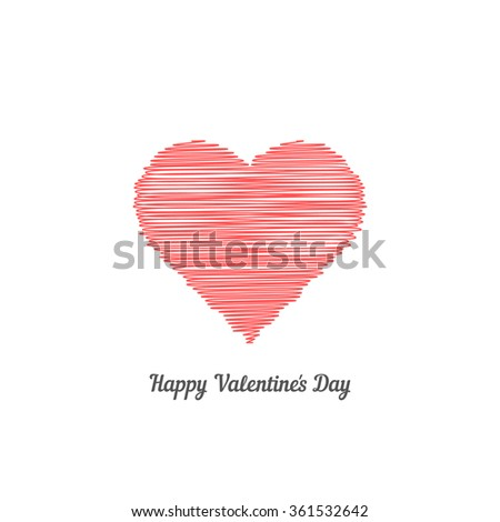 red scribble heart like happy valentine day. concept of celebration, ornate, event, romance, crayon, painting. isolated on white background. flat style trend modern logotype design vector illustration - stock vector