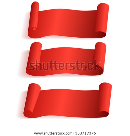 red scrolls, blank banner ,vector