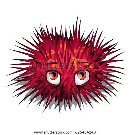 red sea urchin cute eyes isolated stock photo photo vector rh shutterstock com cartoon sea urchin tutorial sea urchin cartoon drawing