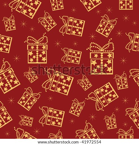 Red seamless background. Vector illustration with lot of present boxes. - stock vector