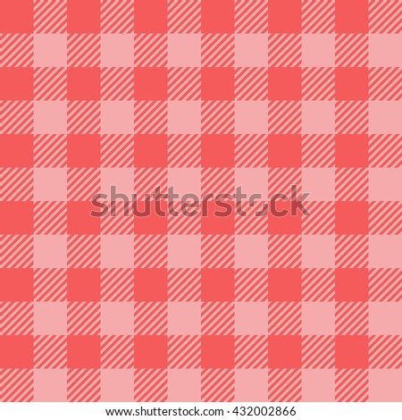 red seamless gingham pattern background - stock vector