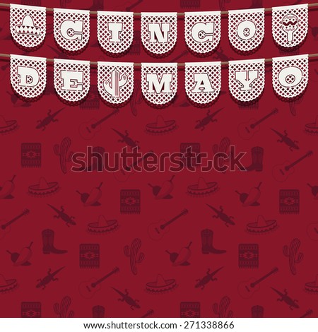 red seamless mexican pattern background with cinco de mayo paper bunting and copy space - stock vector