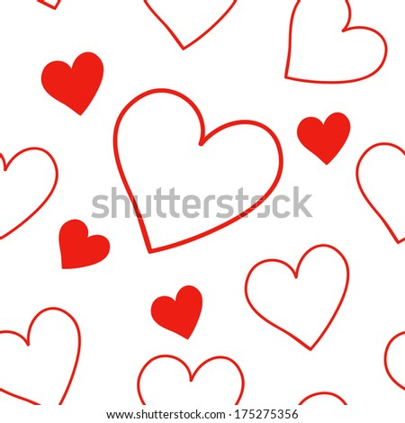 Red seamless pattern with hearts - stock vector