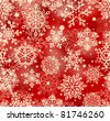 red seamless pattern with snowflakes - stock vector