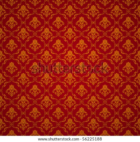 Red Seamless wallpaper pattern, vector - stock vector