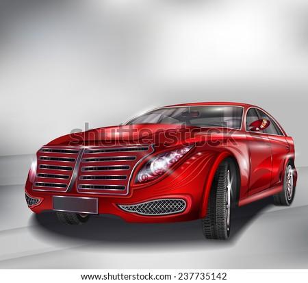 Red Sedan Car - stock vector