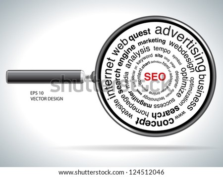 red SEO and Magnifying glass over white - stock vector