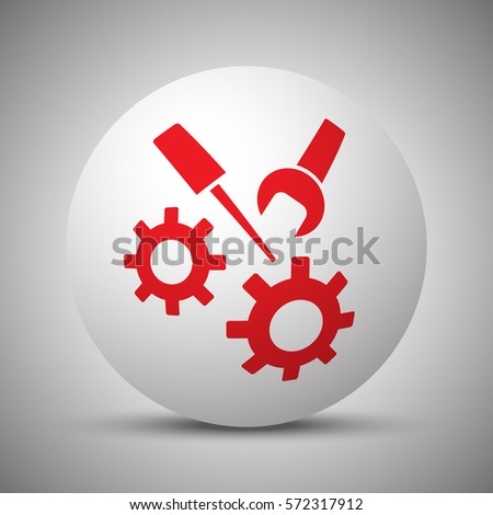Red Service icon on white sphere
