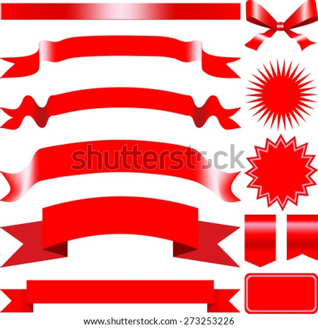 Red set of banners, labels and ribbons. Vector illustration  - stock vector