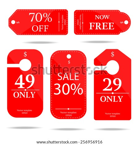 red set price tag-vector  - stock vector