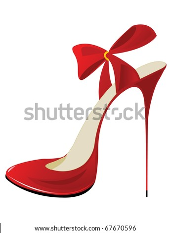 Red sexy shoes - stock vector