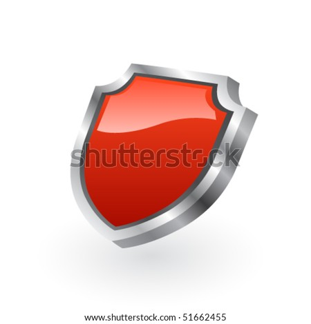 Red shield - stock vector