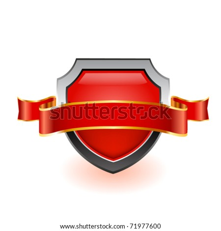 Red shield and red ribbon on white. Vector - stock vector