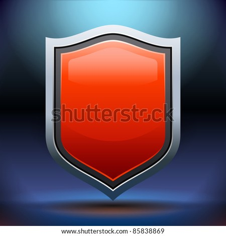 Red shield isolated on dark background - stock vector