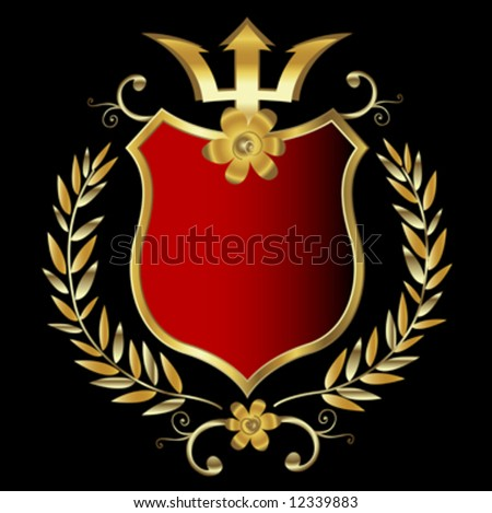 red shield with golden frame - stock vector