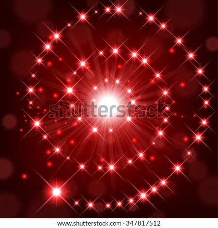 Red shine with sparkle forming spiral background - stock vector