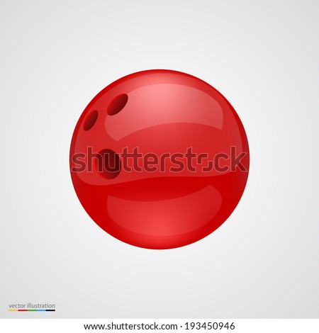 Red shiny and clean bawling ball. Vector illustration. - stock vector
