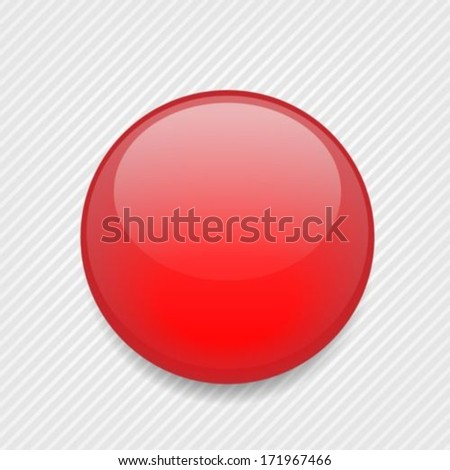 Red shiny ball for icon or button - stock vector