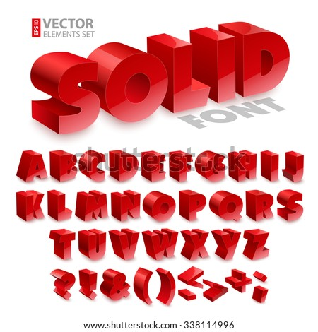 Red shiny 3d solid bold font alphabet isolated on white background. RGB EPS 10 vector elements set - stock vector
