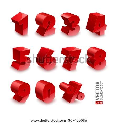 Red shiny 3d thick numbers isolated font on white background. RGB EPS 10 vector elements set - stock vector