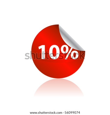 Red shiny discount tag. Vector - stock vector