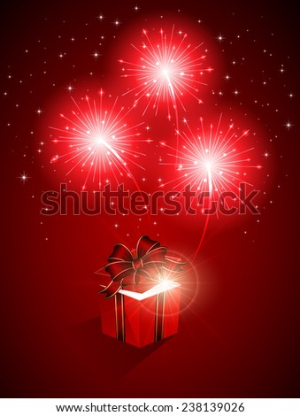 Red shiny fireworks and gift box, illustration. - stock vector
