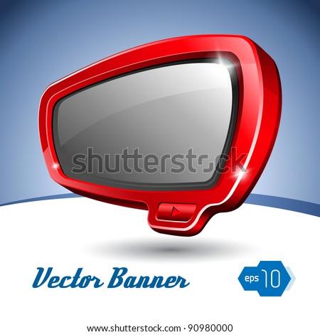 Red Shiny Plastic Banner Like TV - stock vector