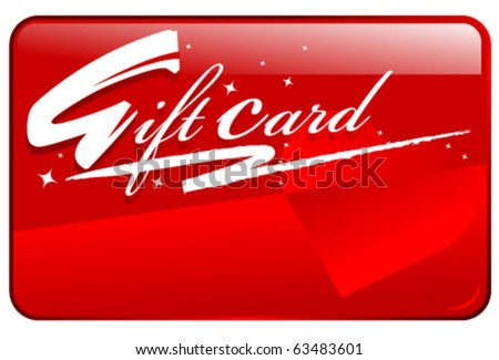 Red shiny seasonal shopping gift card - stock vector