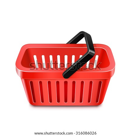 Red shopping basket icon. Vector illustration of shopping cart - stock vector