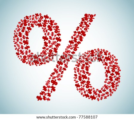 Red sign of percent - stock vector
