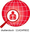 red sign with planet, magnifier and man with gift - stock vector